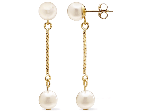14k Yellow Gold White Freshwater Pearl Chain Earrings